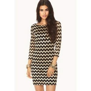 Forever 21 Black and Gold Chevron Dress Size Small